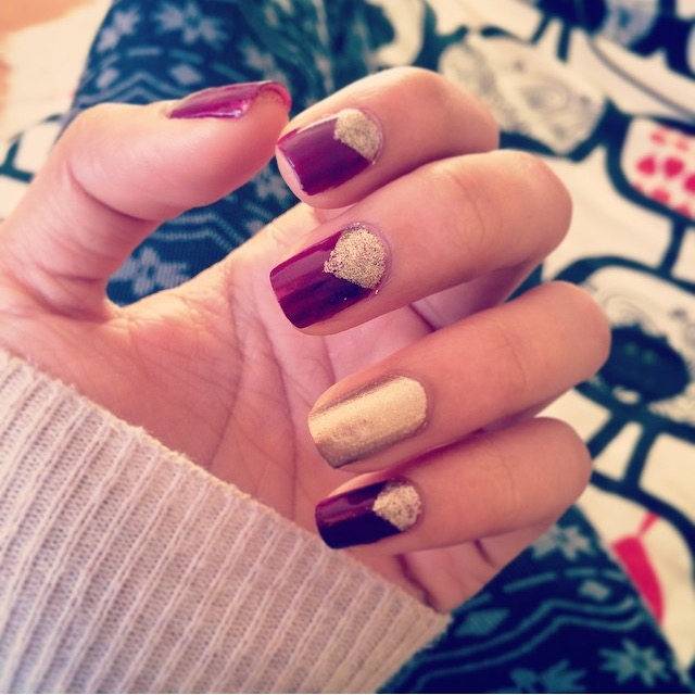 plum and gold fall nails