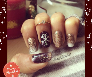 christmas snowy and gold glitter nail art