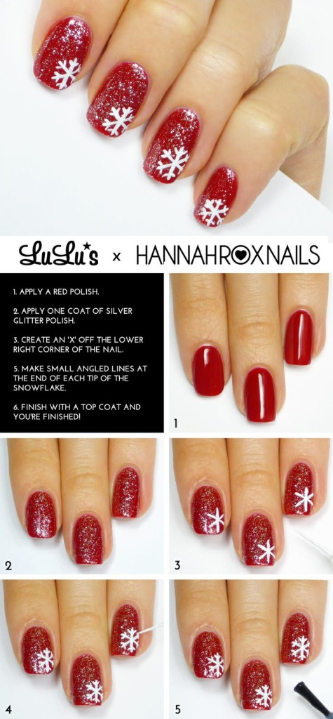 snow flake nail art tutorial