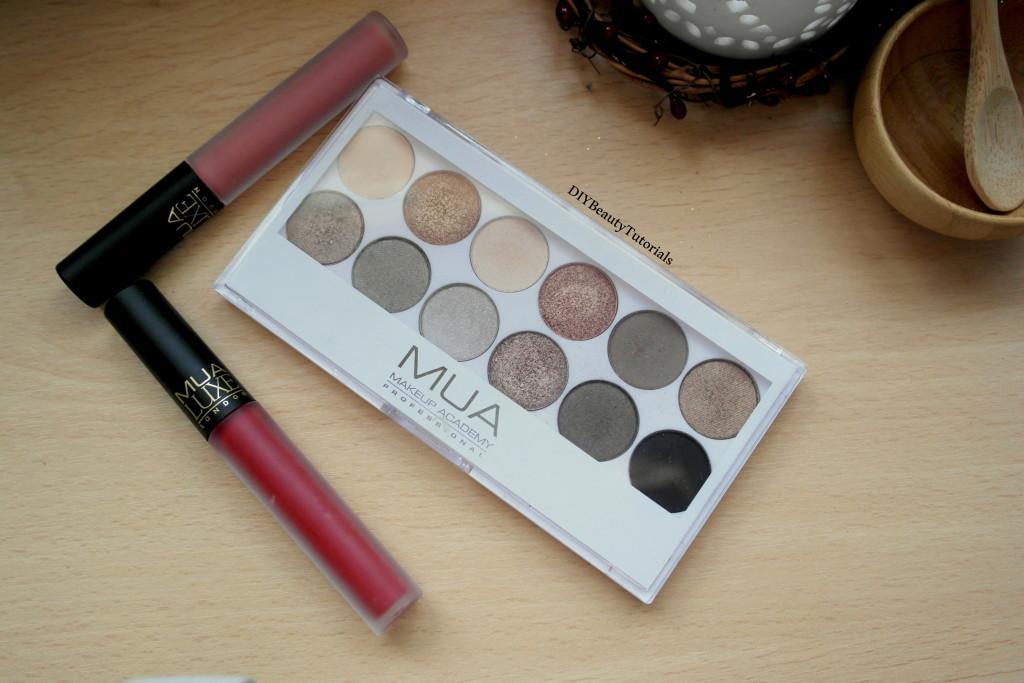 MUA eyeshadow palette and matte liquid lipsticks