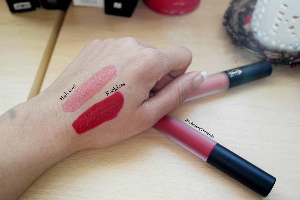 MUA matte liquid lipsticks in reckless and halcyon
