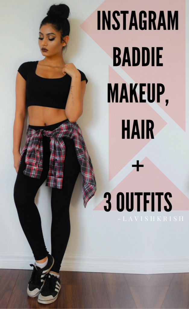 instagram baddie makeup hair and three outfits